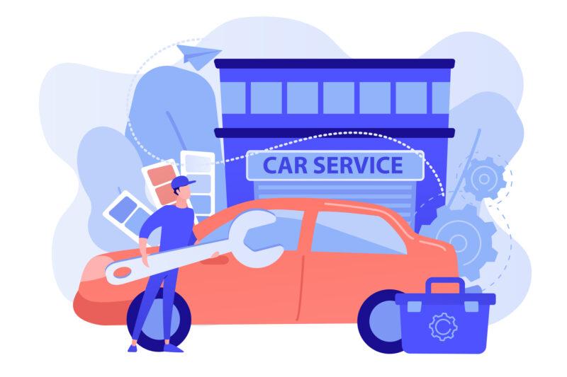 車を修理する
